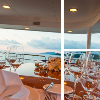 Dining to impress on yacht